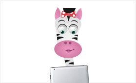 Alice the zebra using an iPad