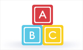A stack of blocks with the letters ABC